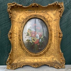 Vintage | Italian Oval Floral Still Life Painting